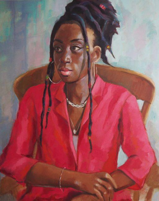 Portrait painting of young female in hoop earrings
