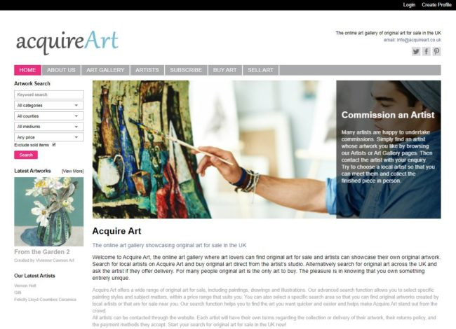 online art gallery website business for sale UK